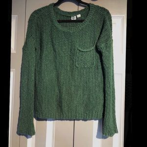 green, knit ROXY sweater with front pocket